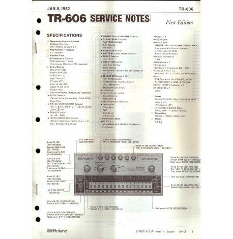 Roland TR-606 Service Notes