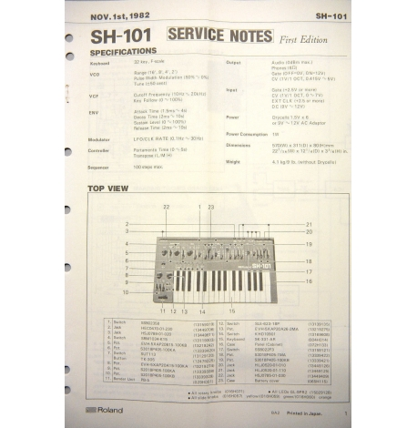 Roland SH-101 Service Notes